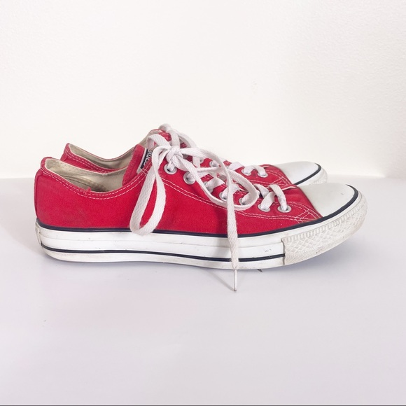 Converse Red Canvas Low Top Sneakers